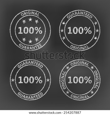 white chalk 100 percent guarantee original circle set icon on black board background(vector)