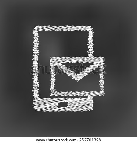 white chalk smart phone and message icon on black board background(vector) - stock vector
