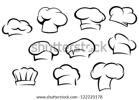 White chef hats and caps set in cartoon style, also a logo idea. Jpeg version also available in gallery - stock vector