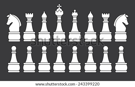White Chess Set, symbol, icon, graphic, vector .