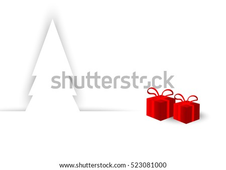 white Christmas and red gift background