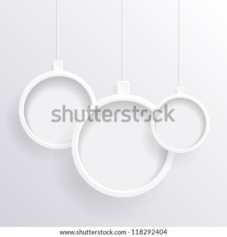 White Christmas balls - stock vector