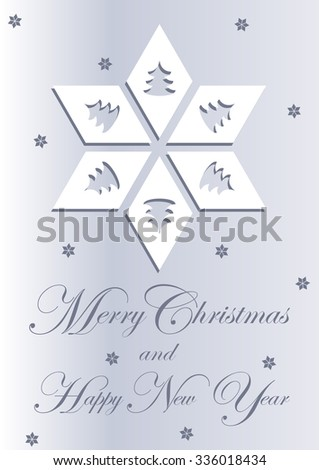 White Christmas Card with decorative Christmas Tree