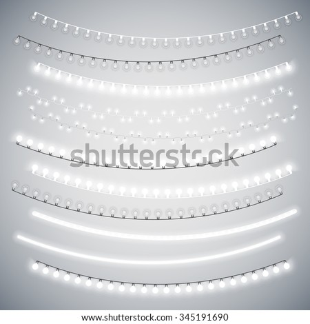 White Christmas Electric Garlands Set for Celebratory Design. Used pattern brushes included. - stock vector