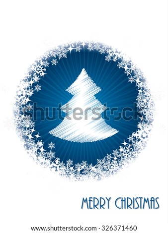 White christmas greeting card design with bursting christmastree from blue circle - stock vector