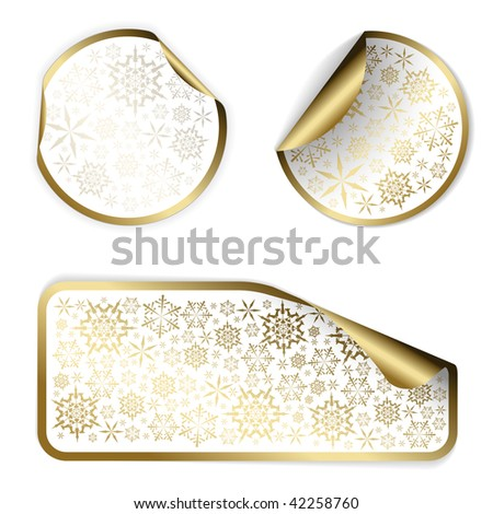 White Christmas labels and stickers with golden border and golden snowflakes pattern (vector) - stock vector