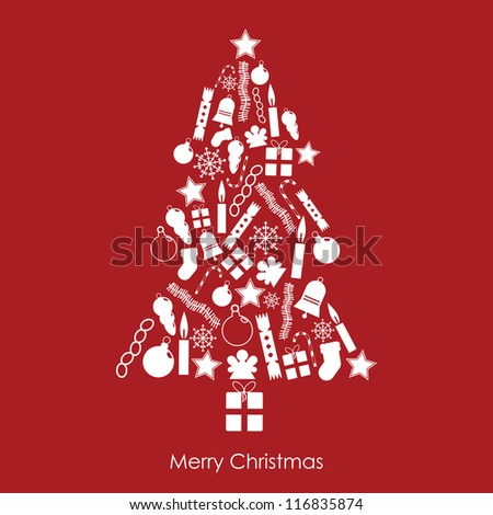 white christmas tree made of festive icons on red background - stock vector