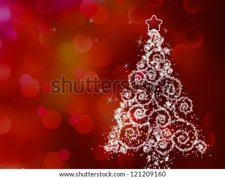 White christmas tree on abstract light background. And also includes EPS 8 vector - stock vector