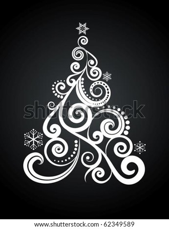 White Christmas tree on black background - stock vector