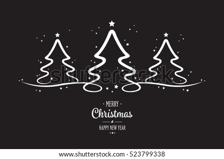 white christmas trees stars black background