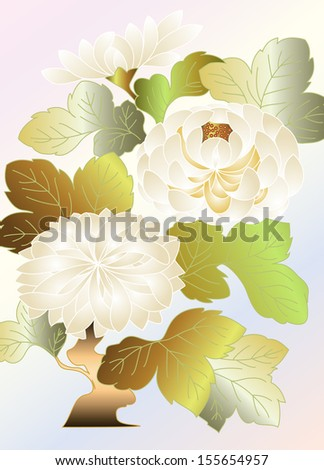 white chrysanthemums on a pale background, embroidery type pattern in the Japanese tradition