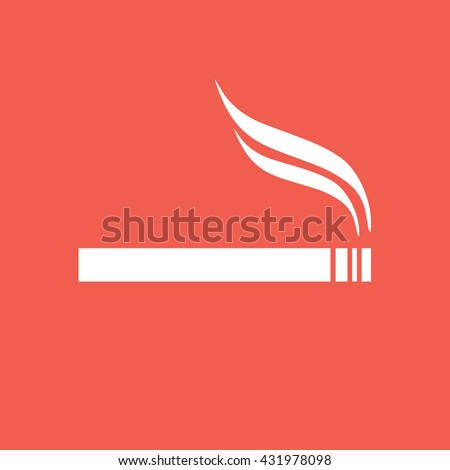 White cigarette icon vector. Allowed smoking sign - stock vector