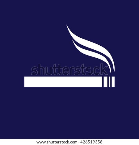 White cigarette icon vector. Allowed smoking sign. Blue background - stock vector