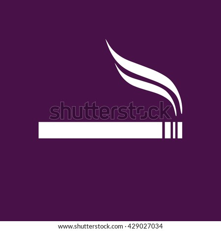 White cigarette icon vector. Allowed smoking sign. Purple background - stock vector
