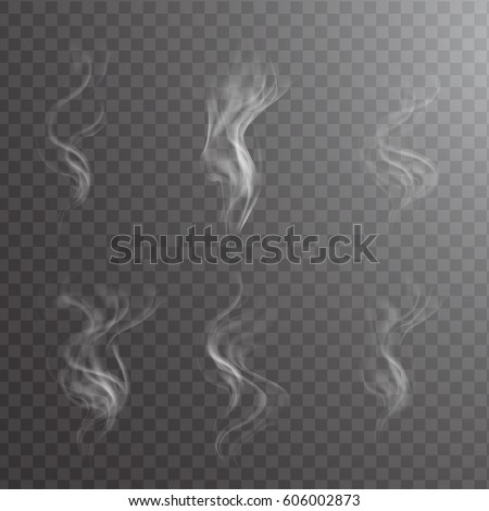 White cigarette smoke waves on transparent. Transparent white steam over cup on dark background background vector illustration.