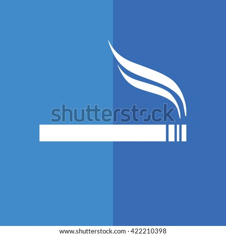 White cigarette vector icon. Allowed smoking sign. Blue background - stock vector