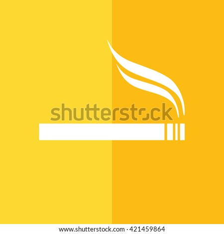 White cigarette vector icon. Allowed smoking sign. Yellow background - stock vector