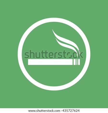 White circle cigarette vector icon. Allowed smoking sign - stock vector