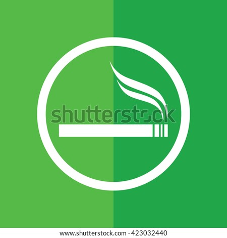 White circle cigarette vector icon. Allowed smoking sign. Green background - stock vector