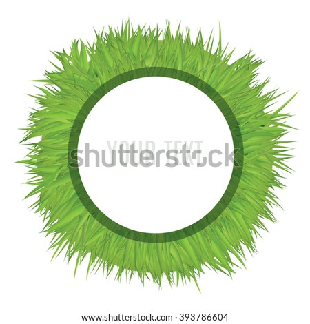 White Circle Frame Template On Abstract Grass Field. Decorative Vector Illustration. - stock vector