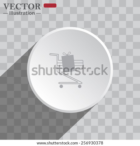 White circle on a gray background with shadow. icon,   put in shopping cart  , vector illustration, EPS 10