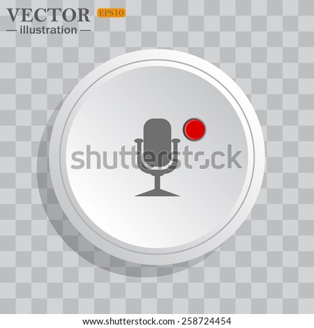 White circle, white button on a gray background with shadow. Grey icon on white.  Microphone. Voice recording, vector illustration, EPS 10 - stock vector
