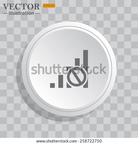 White circle, white button on a gray background with shadow. Grey icon on white.  no signal, poor signal strength, signal strength indicator, vector illustration, EPS 10 - stock vector
