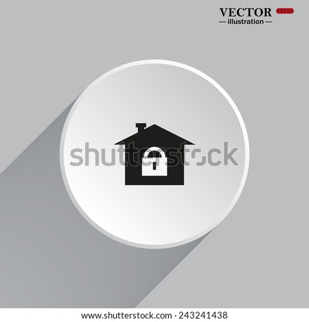 White circle with a shadow. House, access is closed, locked, gray button with a red stroke, vector illustration, EPS 10 - stock vector