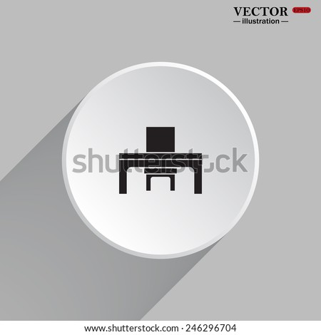 White circle with a shadow on a gray background. desk and chair, a table in the office.  Vector illustration EPS 10 - stock vector