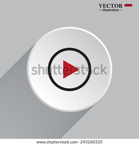 White circle with a shadow. play, vector, EPS 10 - stock vector