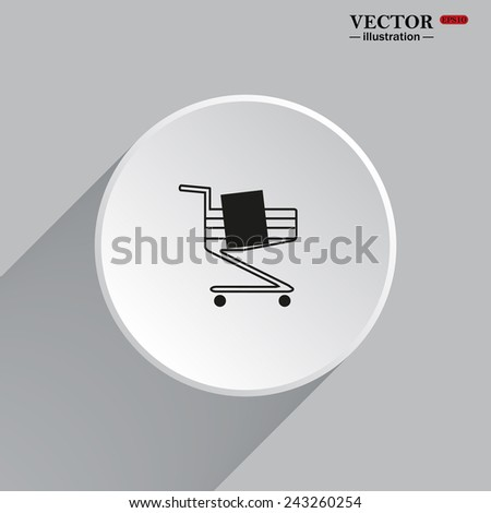White circle with a shadow. Shoping basket , vector illustration, EPS 10