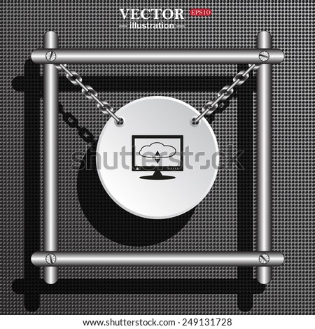 White circle with chains in a metal frame on a gray background with shadow. cloud storage on the computer, vector illustration, EPS 10 - stock vector