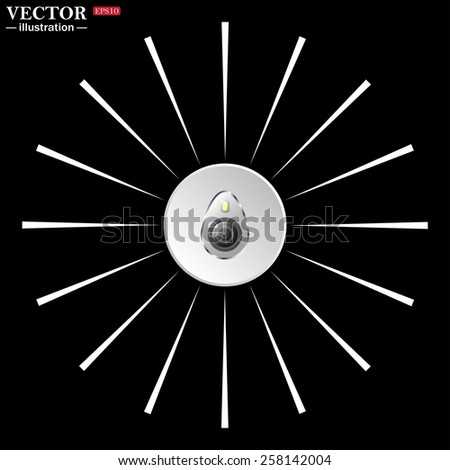 White circle with white rays on a black background. icon smartphone camera and flash, vector illustration, EPS 10