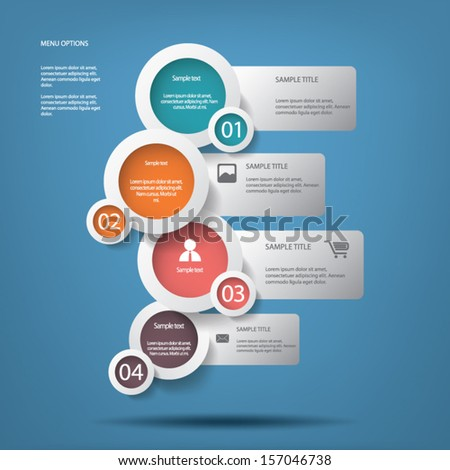 White circles menu options vector illustration with colors inside suitable for web design or infographics - stock vector