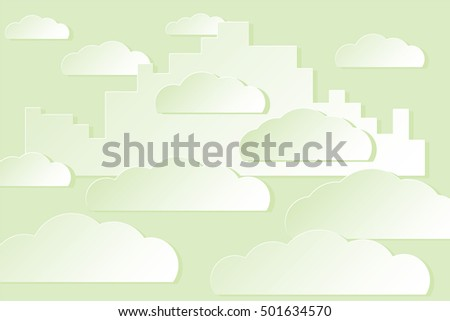 White City in the Sky among the Clouds Paper Cut Illusion Illustration - Green Elements on Similar Color Background - Realistic Gradient Graphic
