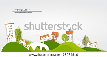 White city on the hills - stock vector
