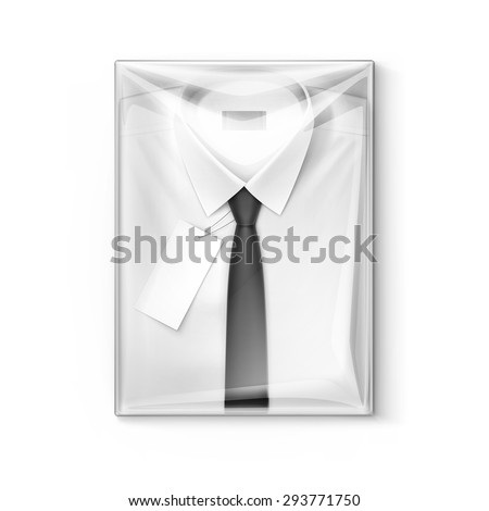 White classic men shirt with black tie and label in the transparent packaging box isolated vector illustration - stock vector