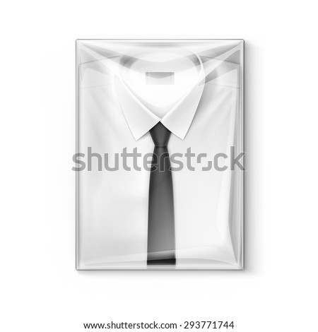 White classic men shirt with black tie in the transparent packaging box isolated vector illustration - stock vector