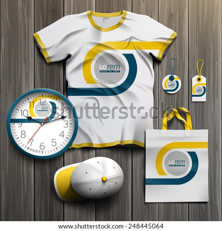 White classic promotional souvenirs design for corporate identity with blue and yellow geometric elements. Stationery set - stock vector