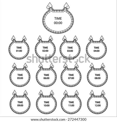 White Clock icons,Vector - stock vector