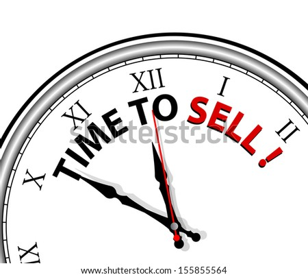 White clock with words Time to Sell on its face  - stock vector