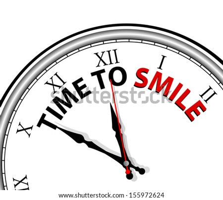 White clock with words Time to Smile and a happy face  - stock vector