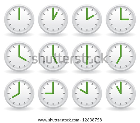 white clocks showing different time - stock vector