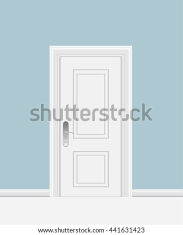white closed door with frame isolated on background vector illustration
