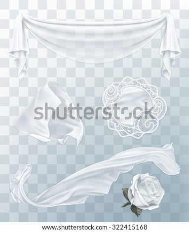 White cloth with transparency, set of vector elements - stock vector