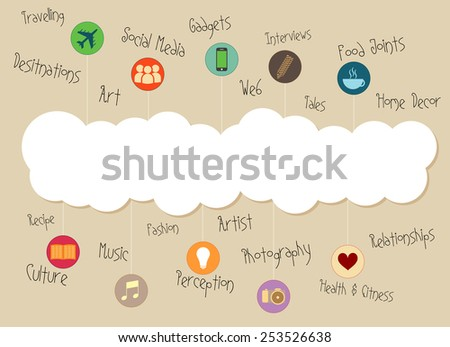 white cloud heading with different fields signs - stock vector