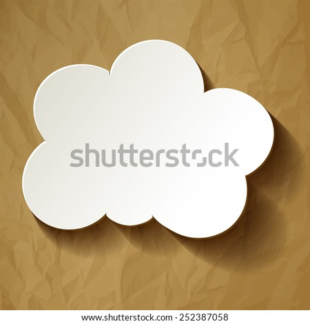 White Cloud in the center of crumpled paper brown - stock vector