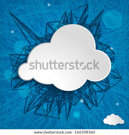 white cloud on a blue striped background