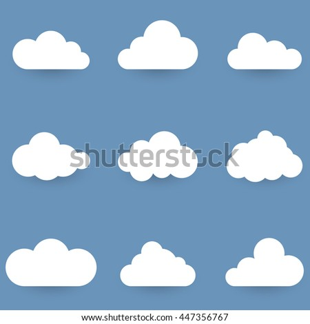 White cloud shapes isolated on blue background vector set.
