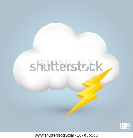 White cloud with lightning, Cloud icon 3d, Cloud design art, Vector illustration - stock vector